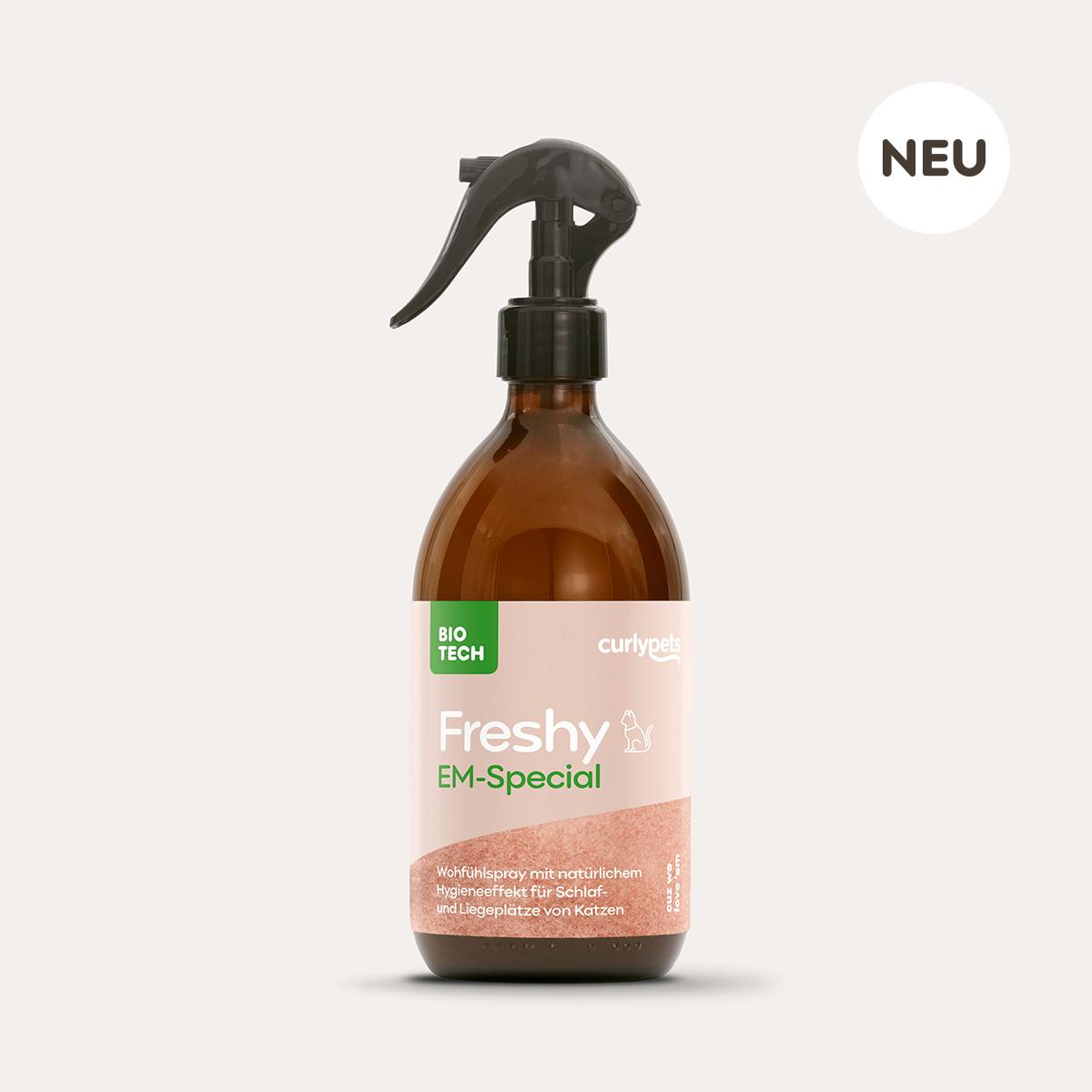 Freshy Cat EM-Special braune 500ml Sprühflasche aus Glas mit Fell Etikett
