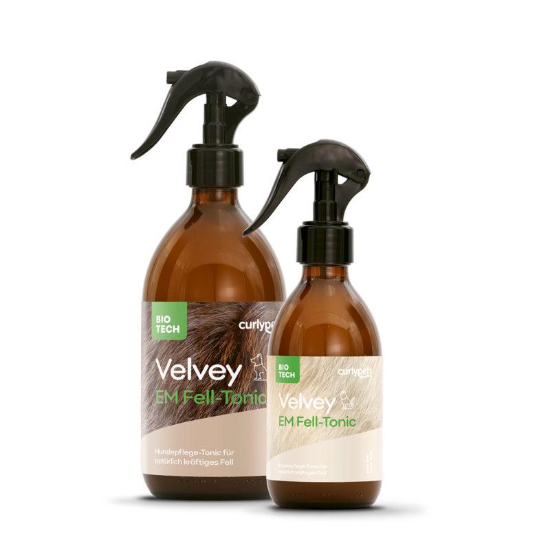 2 braune Sprühflaschen aus Glas mit Velvey EM Fell-Tonic Etikett