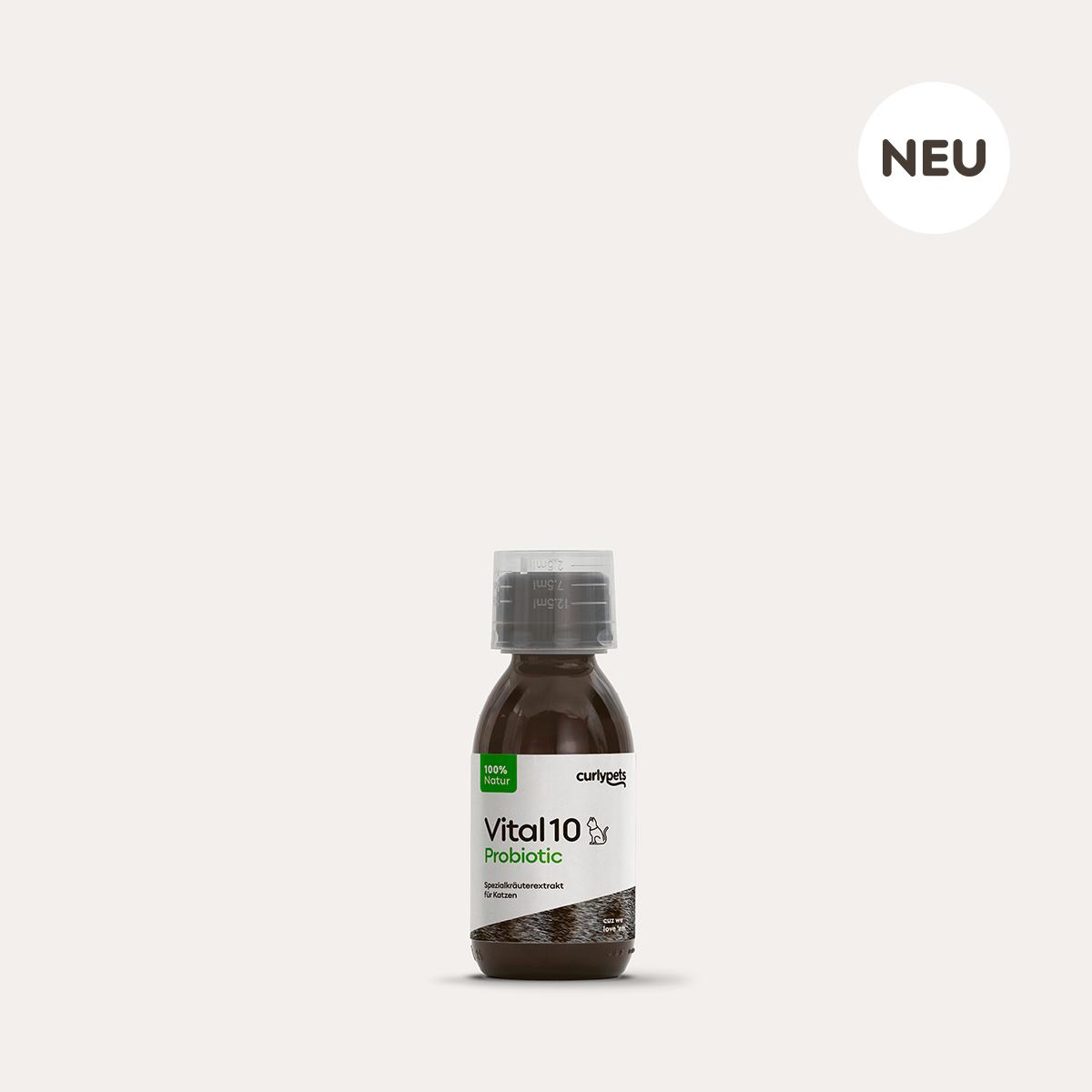 Braune Vital10 Cat Probiotic 125ml Glasflasche mit Schraubverschluß, Messbecher und Etikett