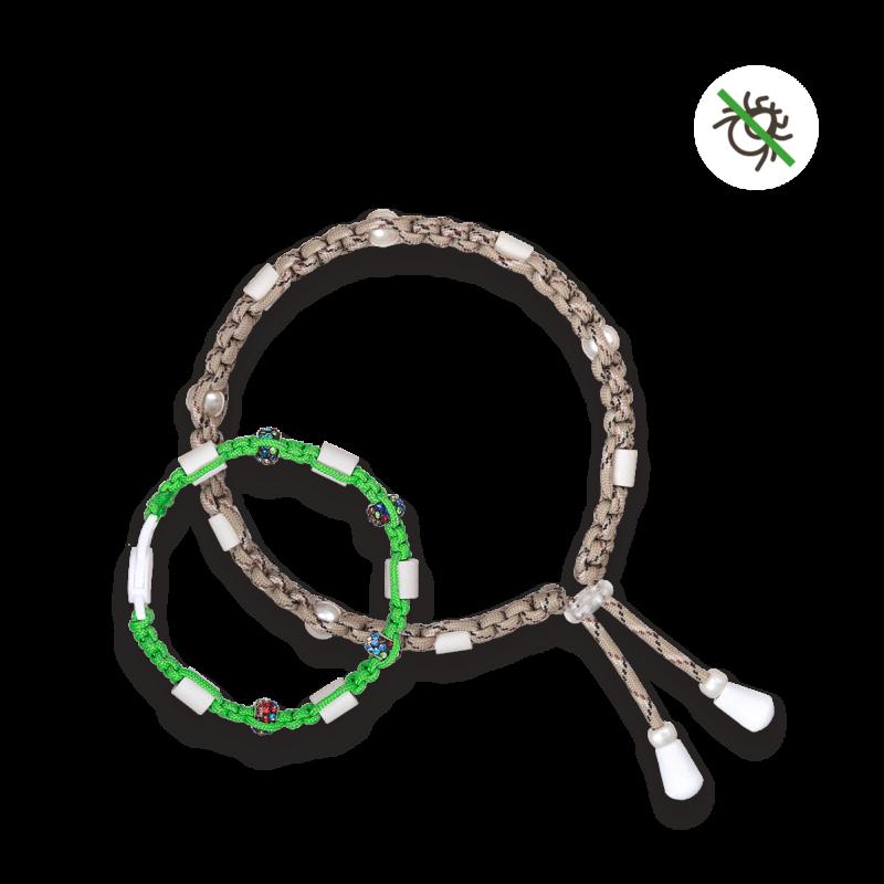 Zeckenbänder Katze Grün und Hund Sandbraun mit einfacher EM Keramik und Zeckenschutz Symbol